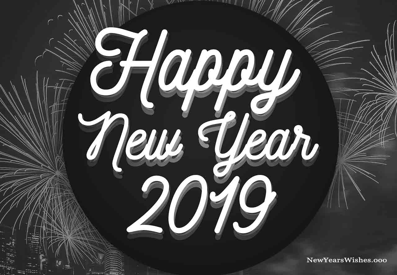 happy new year 2019 black and white