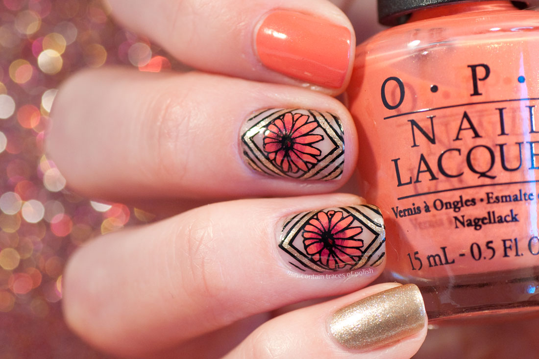 Geometric Floral Nail Art - May contain traces of polish