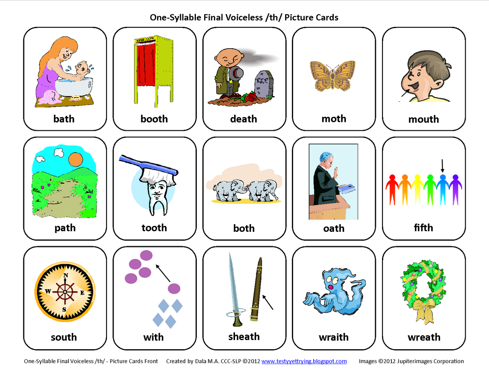Testy Yet Trying Final Th Voiceless Free Speech Therapy Articulation Picture Cards