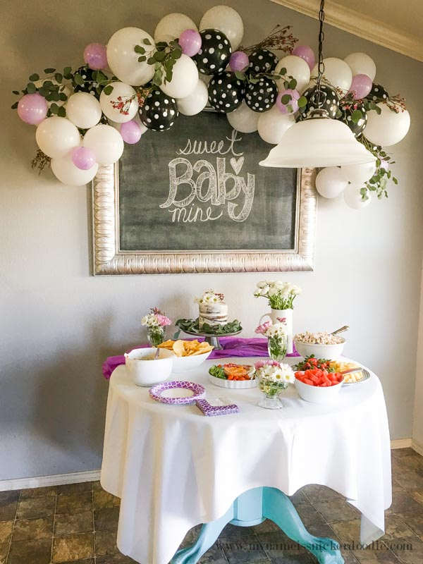 It was basically the same friends for that shower that were for this  shower  so you d think I would mix it up in the decorations department   Nope. My Name Is Snickerdoodle  Baby Shower Classy Ballon Garland Decor