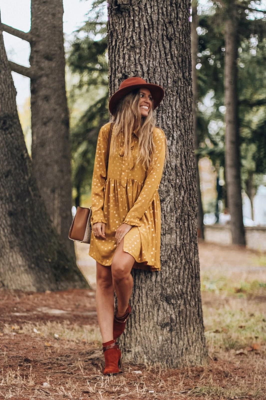 vestido mostaza  boho