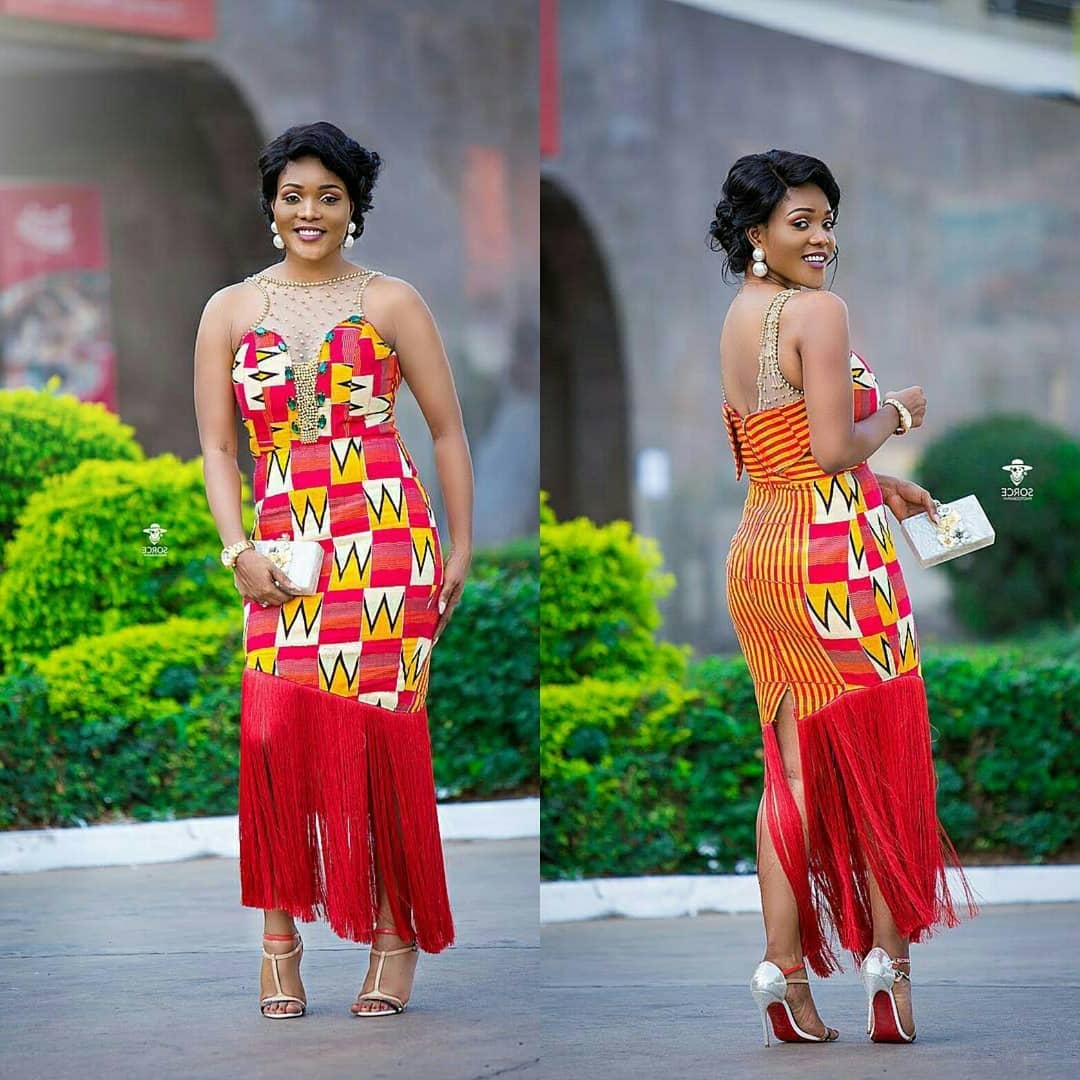 7a4c4b398f WOW!!! Creative and Stylish Fringe Short Ankara Fitted Gown Styles 2018