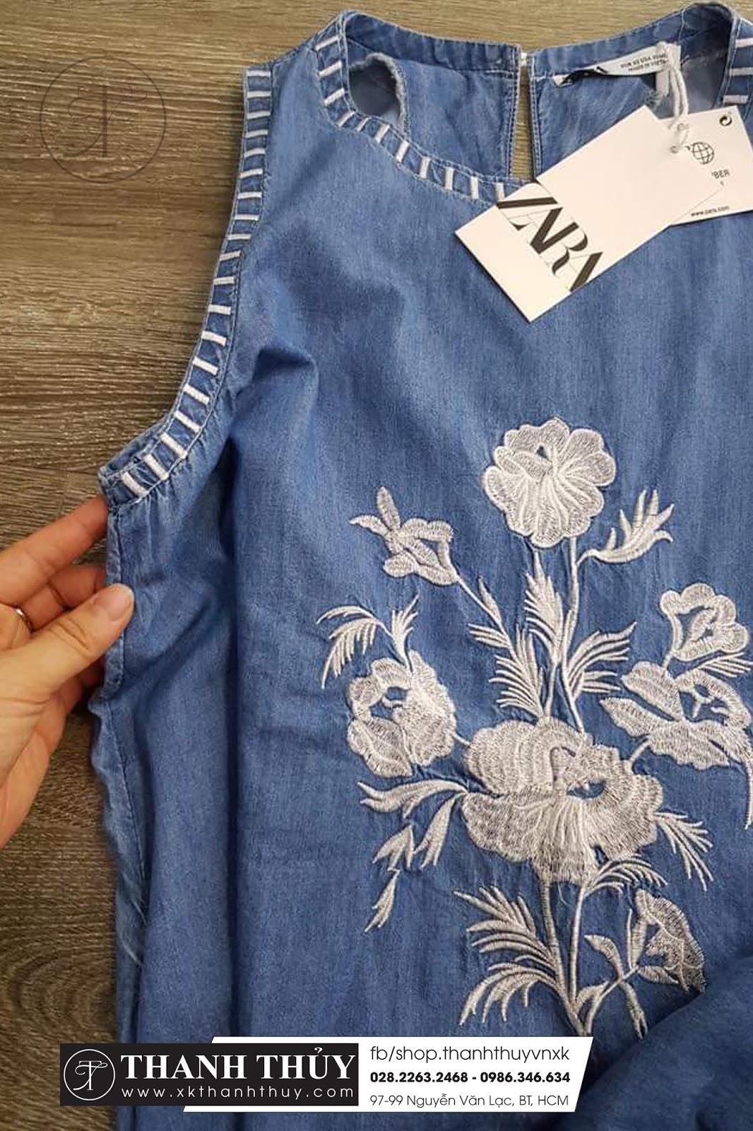Đầm Zara Denim thiêu chỉ nổi phong cách