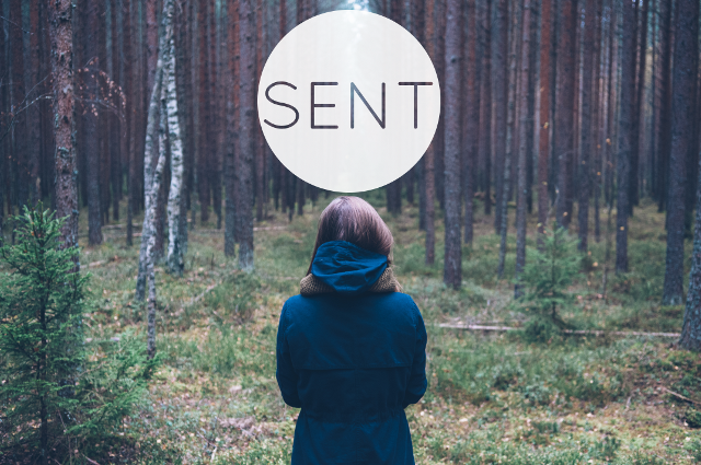 "Lady walking away into woods with the word ""sent"" above her head."