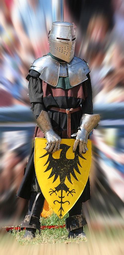 Combatente medieval. Reencenação em Kaltenberg