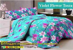 Sprei Custom Katun Lokal Dewasa Violet Flower Tosca Bunga Floral Biru