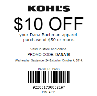 Kohls Coupon: Save $10 OFF $50+ Dana Buchman Apparel