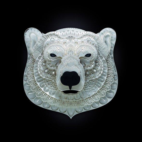Patrick Cabral behance arte animais papel cortado espécies ameaçadas extinção wwf Urso polar