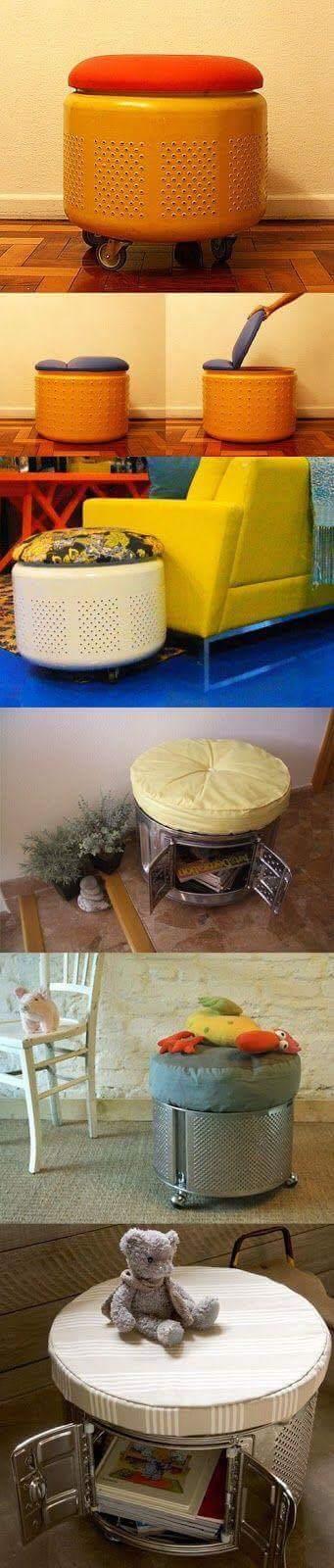 Reciclar el tambor de un lavarropas para hacer asientos