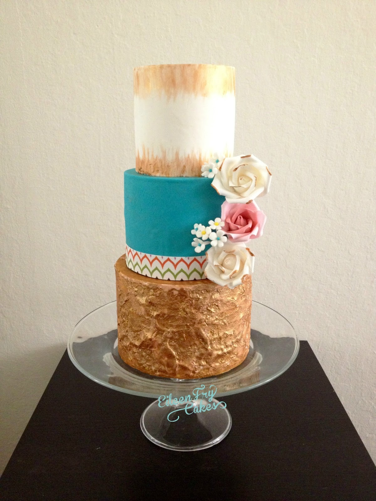 Eileen Fry Cakes Gold And Turquoise Cake
