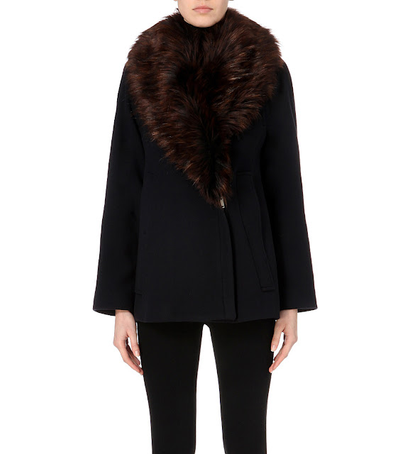 french connection black fur collar coat, fur collar winter coat, french connection mia coat,