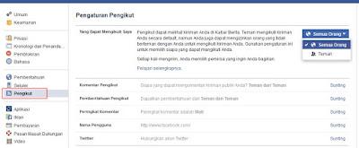 Mengaktifkan Tombol Ikuti Facebook
