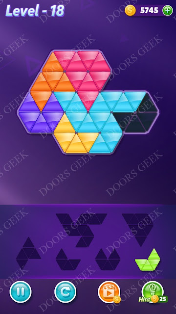 Block! Triangle Puzzle Intermediate Level 18 Solution, Cheats, Walkthrough for Android, iPhone, iPad and iPod