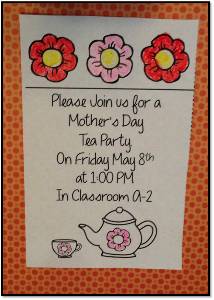 Mother's Day Tea invitation for kindergarten