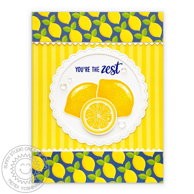 "Sunny Studio Stamps: Slice of Summer Blue & Yellow Striped Lemon Slice ""You're the Zest"" Card (using Summer Splash 6x6 Paper)"