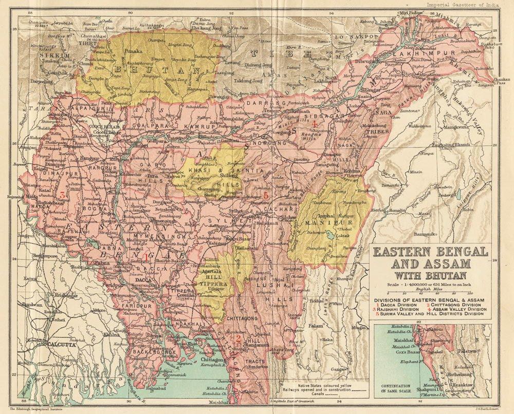 British India Ne Bengal Nepal Bhutan Calcutta Bangladesh Johnston 1906 Map