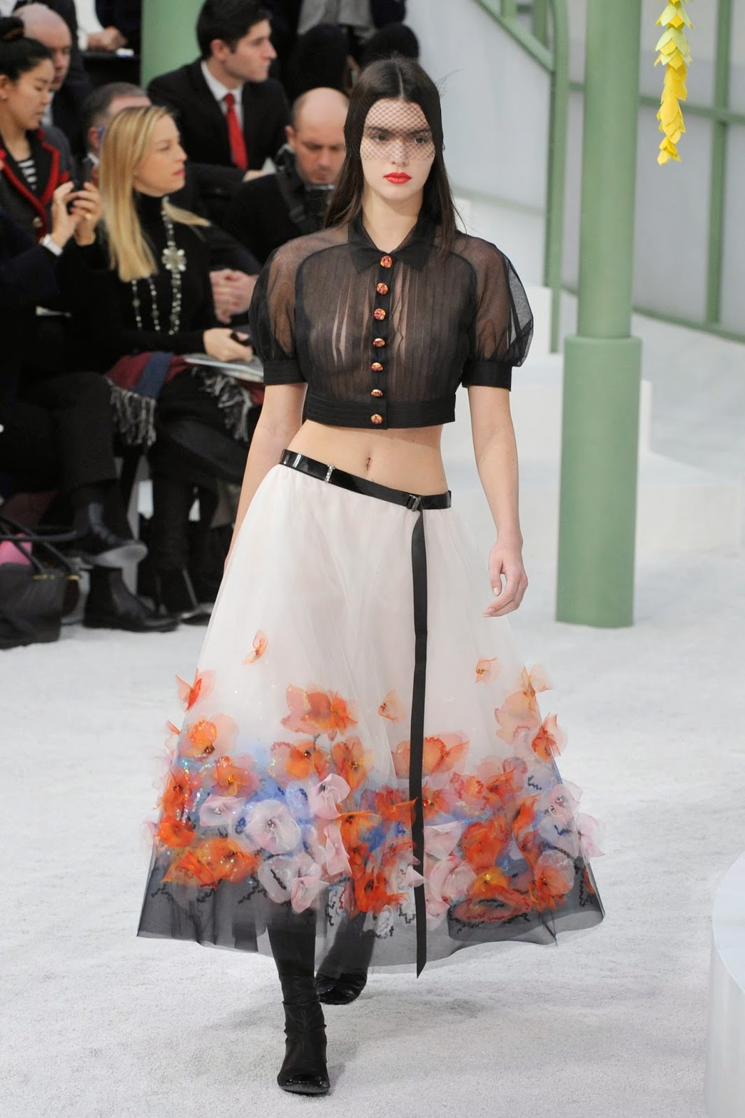 Fashion Through The Decades: Kendall Jenner See-Through Top At Chanel Fashion Show In