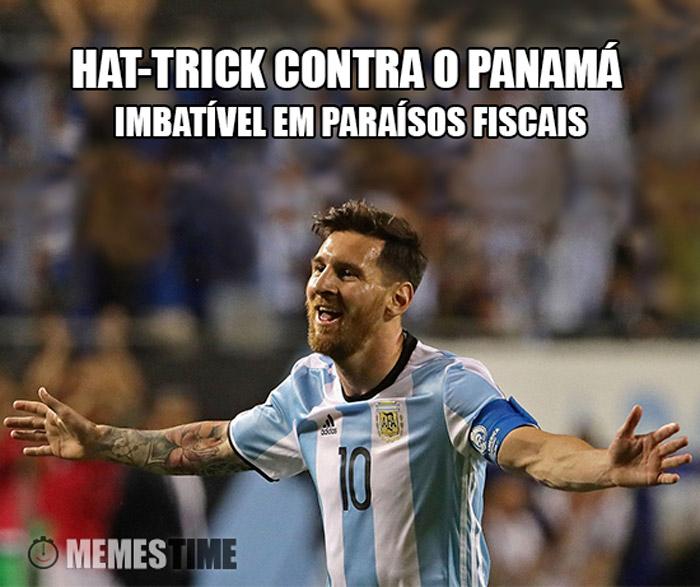 Meme  Lionel Messi – Hat-trick contra o Panamá Imbatível em paraísos Fiscais