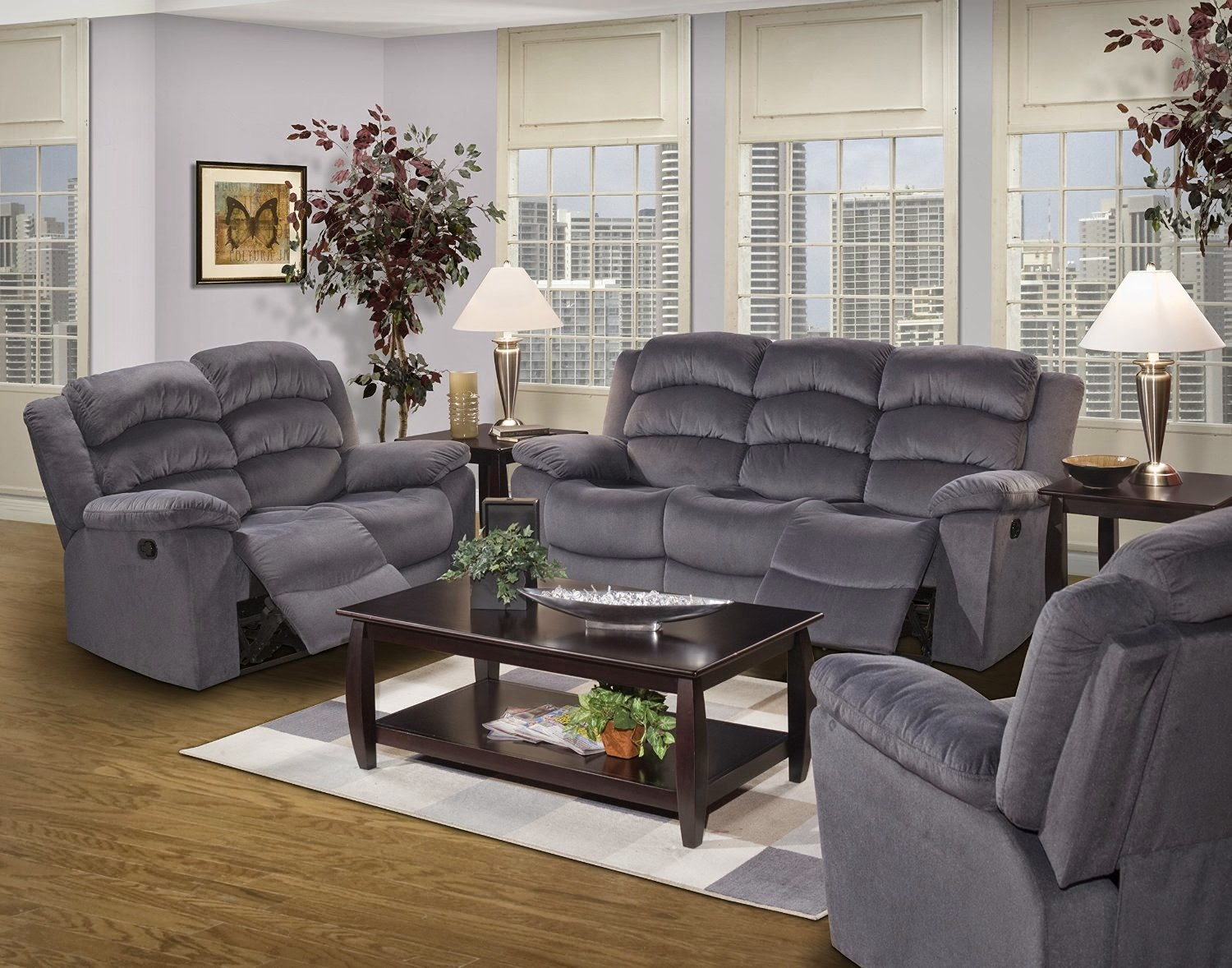 Lane Triple Reclining Sofa Polyester Fabric For Cheap Recliner Sofas Sale