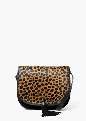 Mango Leopard Leather Cross Body Bag