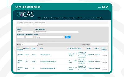 Captura del modulo de canal de denuncias e-cas