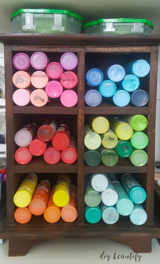 organizing acrylic paints