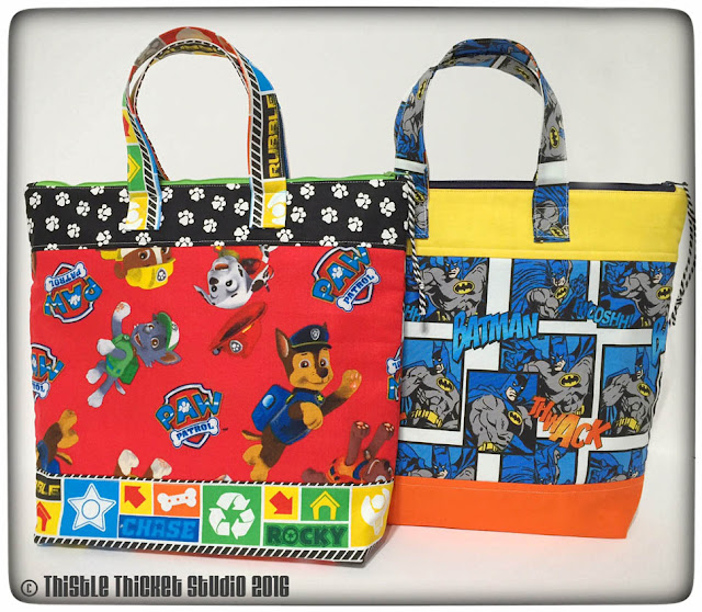 Zipper bags, Thistle Thicket Studio, totes, bags, paw patrol, batman, sewing