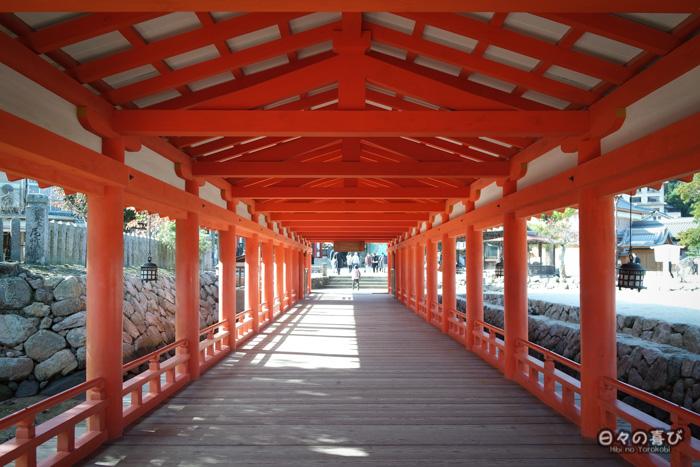 Couloir vermillon, sanctuaire Itsukushima, Miyajima, Hiroshima-ken