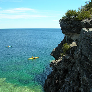 Kayaking along the Bruce Peninsula. Photograph by Janie Robinson, Travel Writer