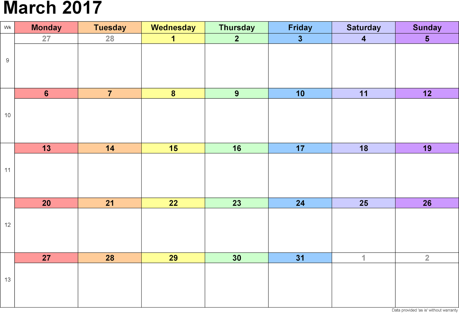 free march 2017 printable calendar free templates