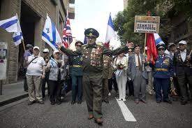 Veteranos soviéticos desfilam em Jerusalém