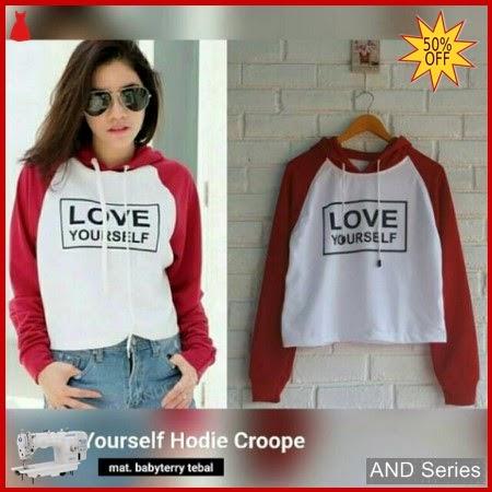 AND197 Sweater Wanita Love Yourself Hoodie Crop BMGShop