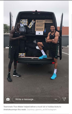 Giannis truck full of shoes