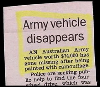 Funny Picture - Army Vehicle Disappears