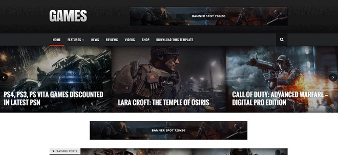 Sora Games Professional Gaming Blogger Template