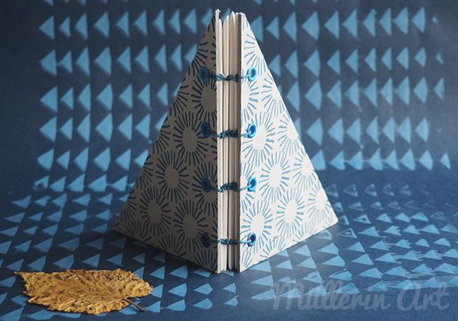 Buch koptische Bindung, Siebdruck, Dreiecksmuster ©müllerinart
