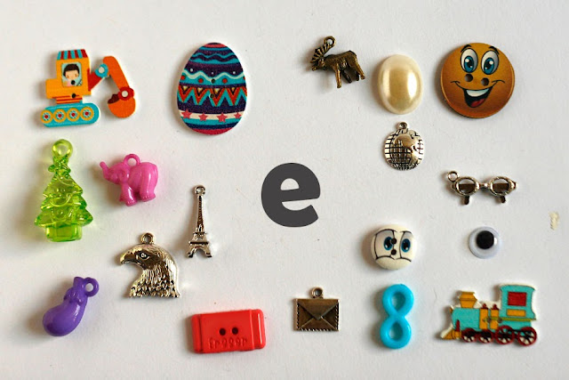 TomToy Individual letter E I spy trinkets for alphabet, Miniature abc objects, Montessori alphabet. Sorting toddler activities