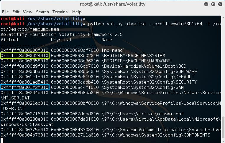 Kali Linux, Volatility - hivelist