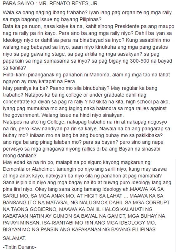 """Netizen to Renato Reyes: """"Para Ano Ba Ang Mga Rally Niyo? Dahil Ba Iyan Sa Ideology Niyo or Dahil Sa Pera Na Binabayad Sa Inyo?"""""""