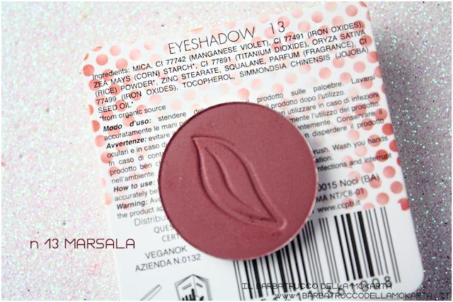 n 13 Marsala  recensione INCI ombretto eyeshadow Purobio Cosmetics