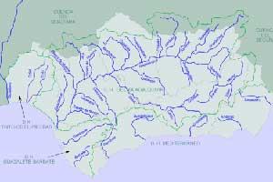 Ejemplo de los afluentes más importantes del río Guadalquivir