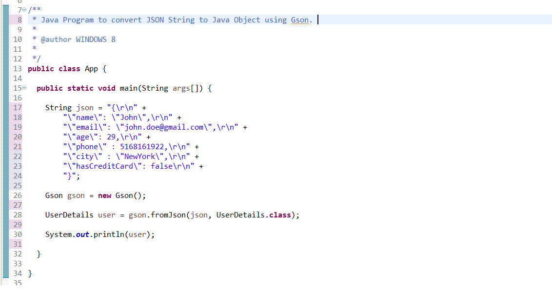 How to convert JSON String to Java Object - Gson/JSON