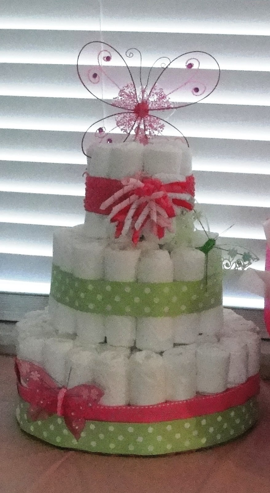 All Things Harrigan Butterfly Baby Shower Diaper Cake