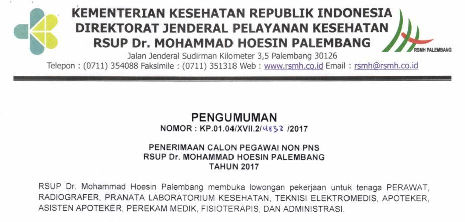 Penerimaan Calon Pegawai Non Pns Rsup Drmohammad Hoesin