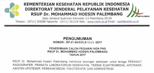 Penerimaan Calon Pegawai Non PNS RSUP Dr.Mohammad Hoesin Palembang Tahun 2017