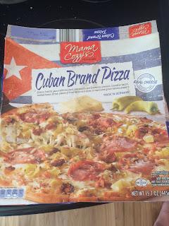 A box of Mama Cozzi's Cuban Brand Frozen Pizza, from Aldi
