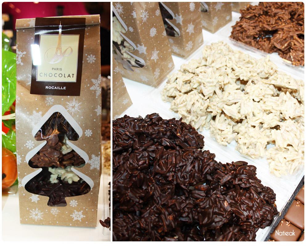 Rocaille noir, lait et blanc de Paris Chocolat