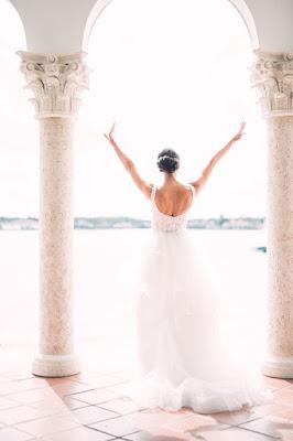 happy bride outdoors