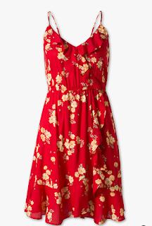 robe rouge à fleurs - C&A