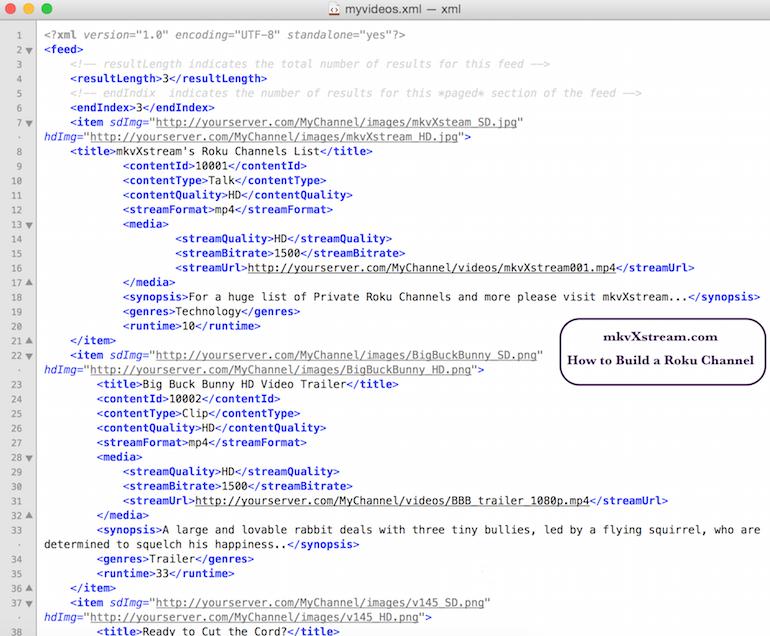 Roku XML